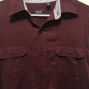 Men's IZOD dark burgundy button down shirt - EUC